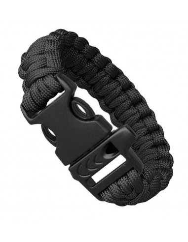 PARACORD BRACELET WHISTLE BLACK