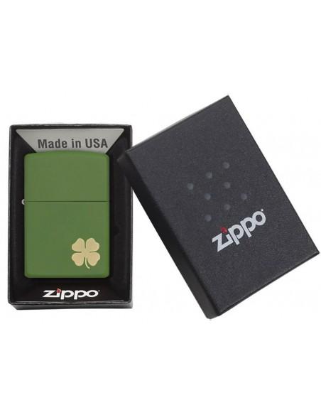 Zippo Lighter Green Matte Shamrock