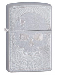 Zippo Upaljač Satin Chrome Scull With Lines