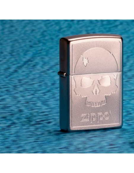 Zippo Lighter Satin Chrome Scull With Lines