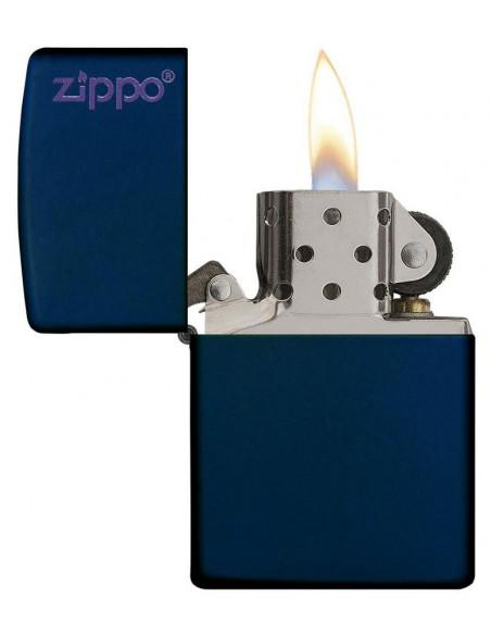 Zippo Lighter Navy Blue Matte Zippo Logo