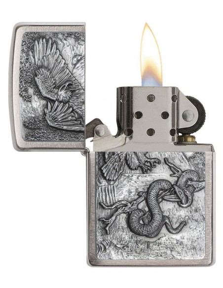 Zippo Lighter Brushed Chrome Eagle vs Snake Emblem