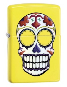 Zippo Lighter Neon Yellow Day of the Dead