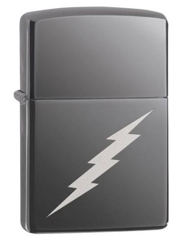 Zippo Upaljač High Polish Chrome Black Ice Lightening Bolt Design