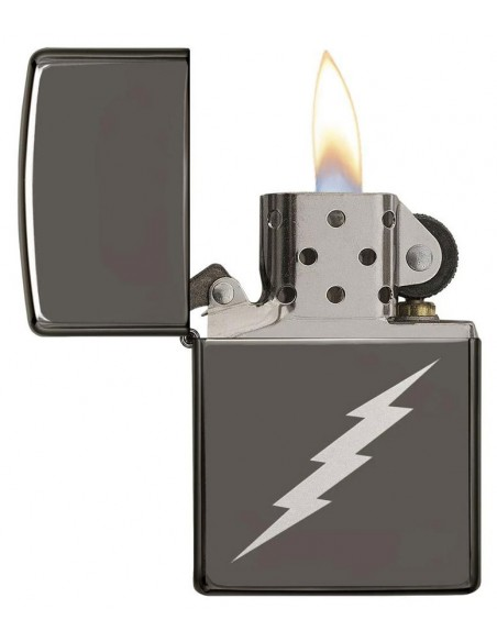 Zippo Lighter High Polish Chrome Black Ice Lightening Bolt Design