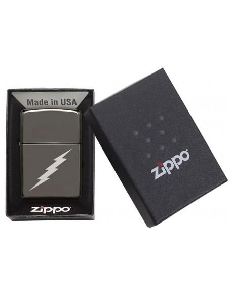 Zippo Lighter High Polish Chrome Black Ice Lightening Bolt Design