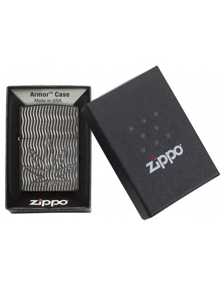 Zippo Lighter Armor Black Ice Marijuana Leaf Design