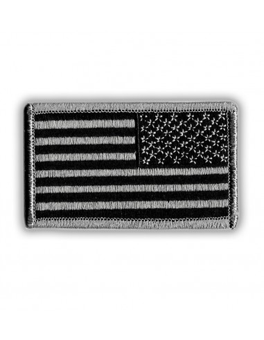 Patch US Flag Reverse Black / Silver