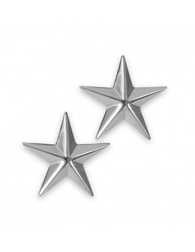 Brigadier General Insignia Stars Pin Silver