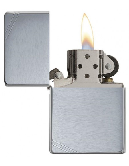 Zippo Lighter Vintage Slashes Brushed Chrome