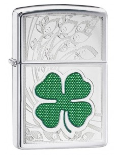 Zippo Upaljač High Polish Chrome Clover Engraved