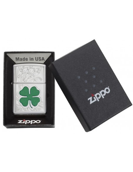 Zippo Lighter High Polish Chrome Clover Engraved
