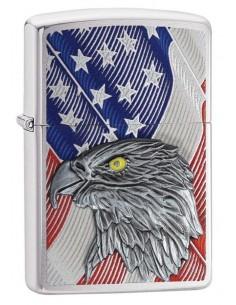 Zippo Lighter Brushed Chrome Usa Flag With Eagle Emblem