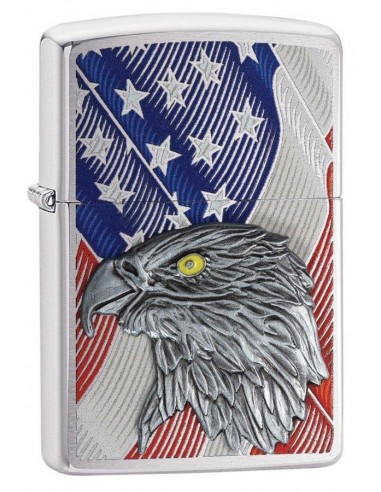 Zippo Lighter Brushed Chrome Usa Flag With Eagle Emblem
