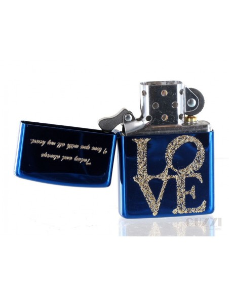 Zippo Lighter Blue Ice High Polish Love