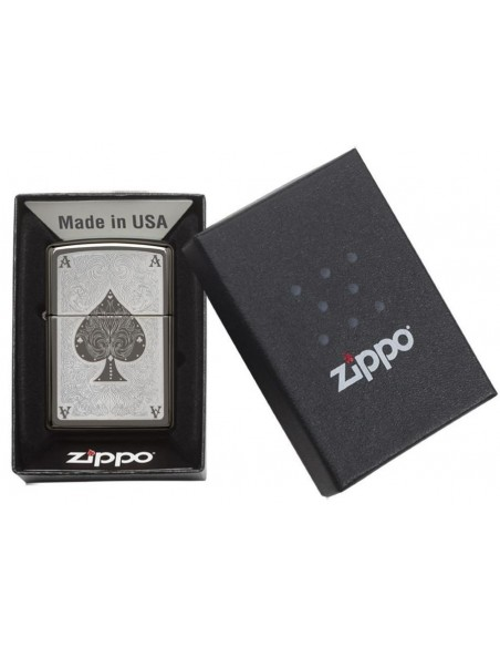 Zippo Lighter Ace of Spade Filigree Black Ice