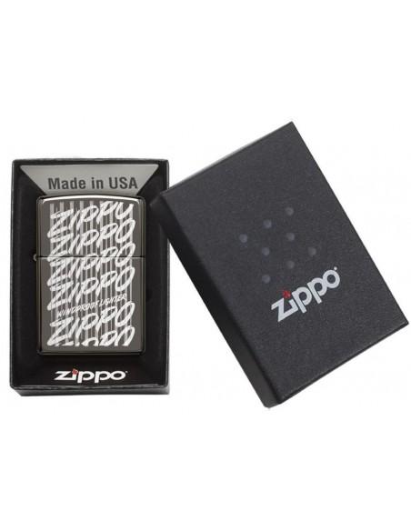 Zippo Lighter High Polish Chrome Black Ice Zippo Script