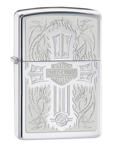Zippo Lighter High Polish Chrome Harley Davidson Logo & Cross
