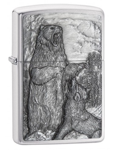 Zippo Lighter Brushed Chrome Bear vs Wolf Emblem