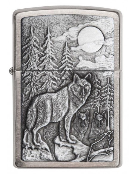 Zippo Lighter Timberwolves Emblem Brushed Chrome