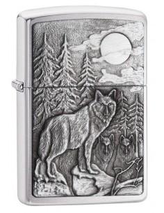 Zippo Lighter Timberwolves Emblem Brushed Chrome