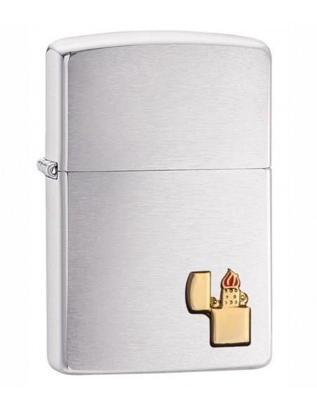 Zippo Lighter Brushed Chrome Zippo Lighter Emblem