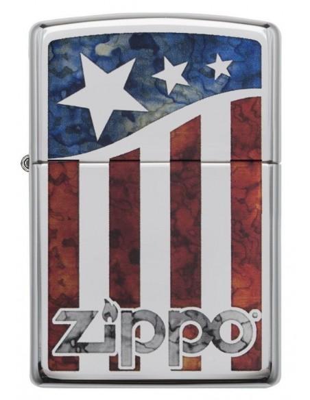 Zippo Upaljač High Polish Chrome Zippo US Flag