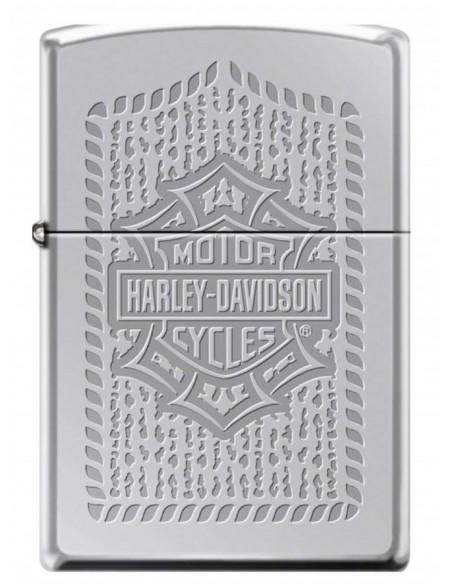 Zippo Lighter High Polish Chrome Harley Davidson Bar & Shield Logo Pattern