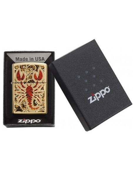 Zippo Lighter High Polish Brass Scorpion Shell