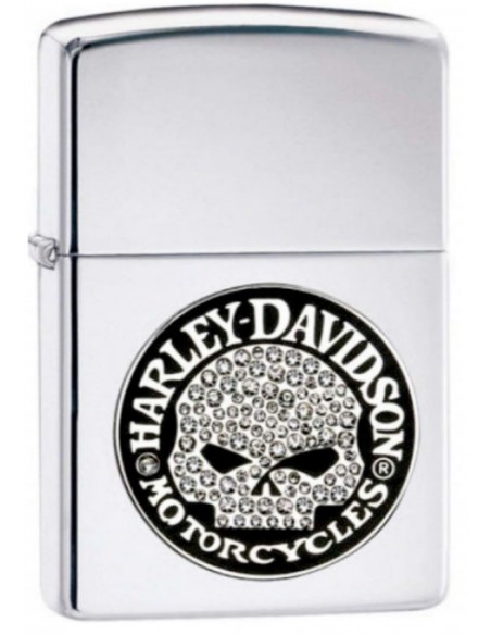 Zippo Lighter High Polish Chrome Harley Davidson Bling Skull Emblem