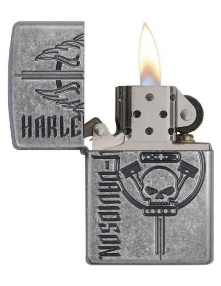 Zippo Lighter Armor Antique Silver Harley Davidson Hd 1903