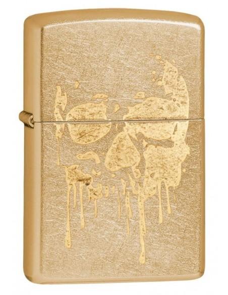 Zippo Lighter Gold Dust Zippo Grunge Skull