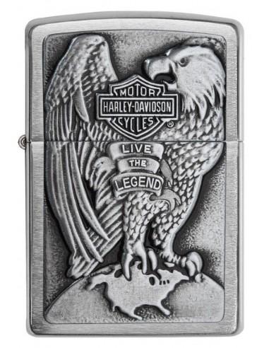 Zippo Lighter Brushed Chrome Harley Davidson Eagle & Globe