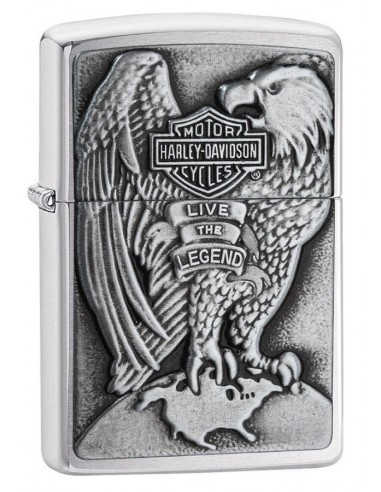 Zippo Upaljač Brushed Chrome Harley Davidson Eagle & Globe