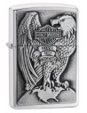Zippo Lighter Brushed Chrome Harley Davidson Eagle & Globe