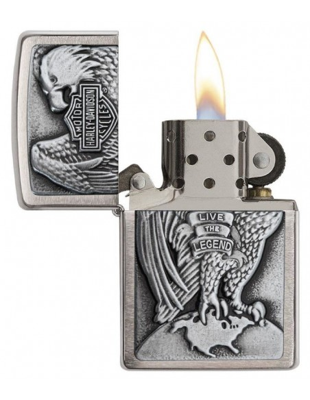 Zippo Upaljač Brushed Chrome Harley Davidson Eagle & Globe