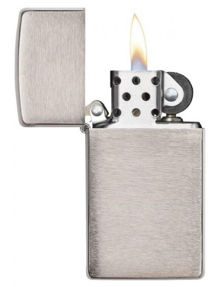 Zippo Lighter Slim Brushed Chrome