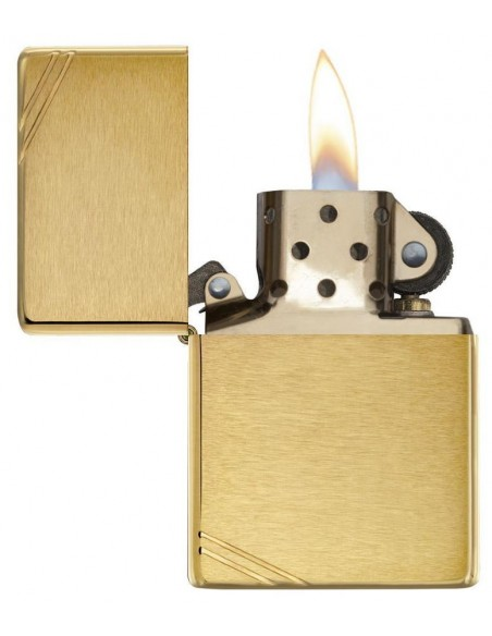 Zippo Lighter Vintage Brushed Brass Slashes