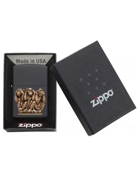 Zippo Lighter Black Matte Three Monkeys