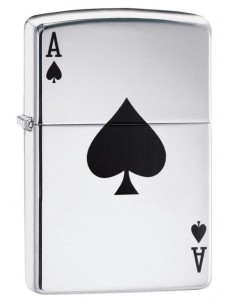 Zippo Lighter High Polish Chrome Lucky Ace