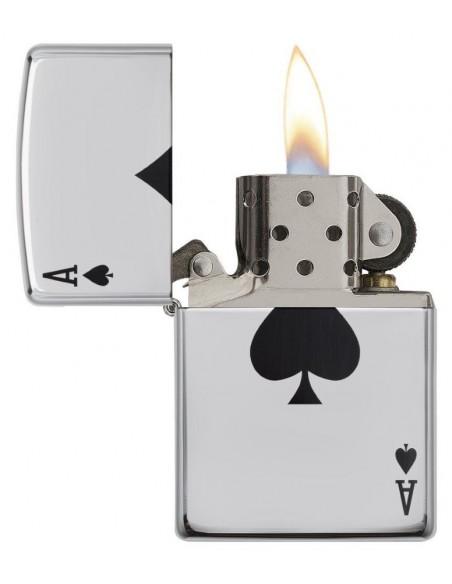 Zippo Lighter High Polish Chrome Lucky Ace