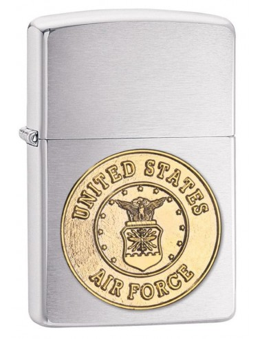 Zippo Lighter Brushed Chrome US Air Force Crest Emblem