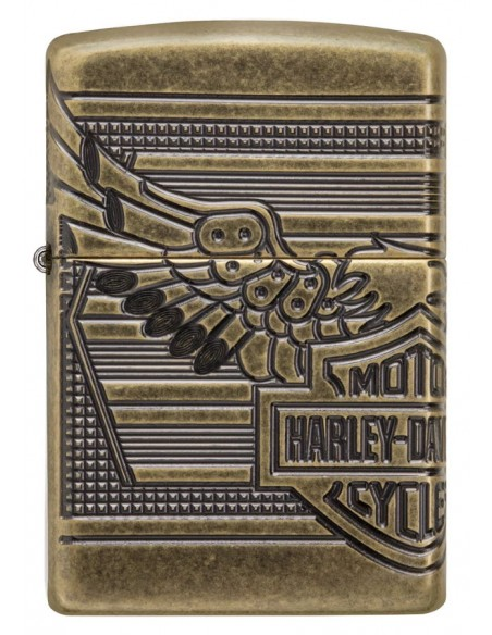 Zippo Lighter Armor Antique Brass Harley Davison Deep Carved Shield Collectible 2018