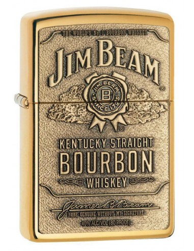 Zippo Upaljač High Polish Brass Jim Beam Label Emblem