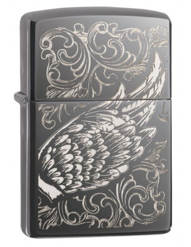 Zippo Lighter Black Ice High Polish Ice Filigree Flame & Wings Design