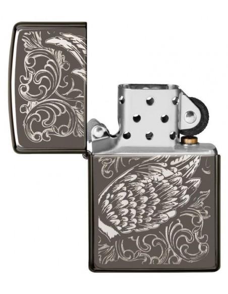 Zippo Lighter Black Ice High Polish Ice Filigree Flame & Wings Design
