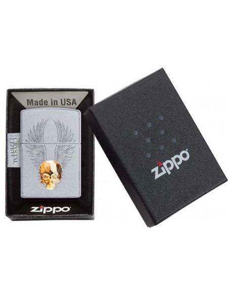 Zippo Upaljač Satin Chrome Gold Skull Design Swarovski Crystal