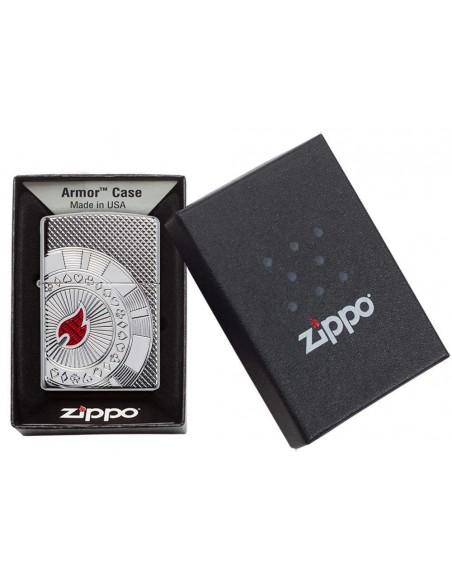 Zippo Lighter Armor High Polish Poker Chip Desing Deep Carved