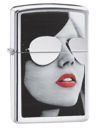 Zippo Lighter High Polish Chrome Girl With Reflective Sunglasses