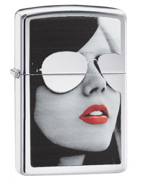 Zippo Lighter High Polish Chrome Girl With Reflective Sunglasses